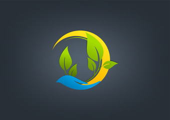 natural care logo, green care vector design