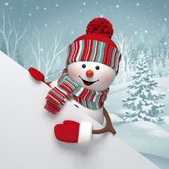 3d snowman, Christmas banner, winter background
