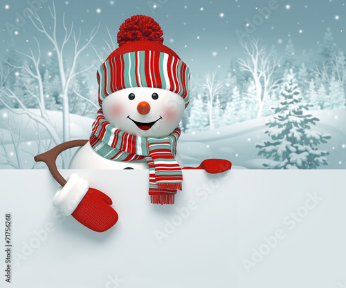 canvas print picture 3d snowman, Christmas banner, winter background