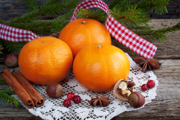 Christmas composition with oranges