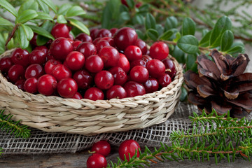 cranberries in a basket on a table