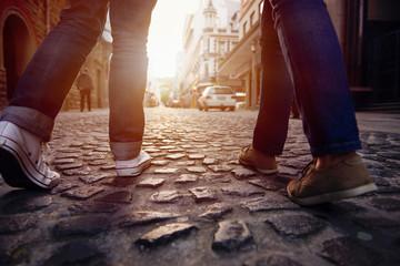 cobblestone street walk