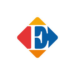 Vector color sign initial letter E
