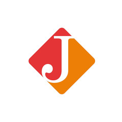 Vector color sign initial letter J