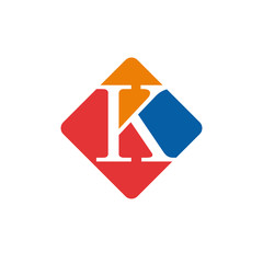 Vector color sign initial letter K