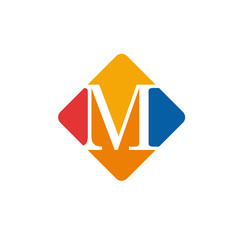 Vector color sign initial letter M