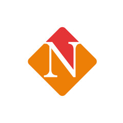 Vector color sign initial letter N