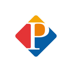 Vector color sign initial letter P