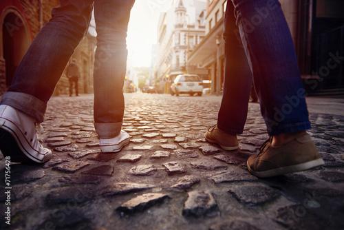 canvas print picture cobblestone street walk