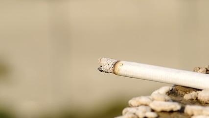 Burning and smoking cigarette