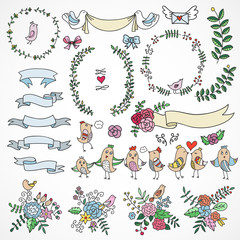 Cute hand drawn design elements: flowers, wreaths, ribbons