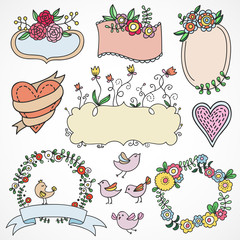 Cute hand drawn design elements: flowers, wreaths,ribbons