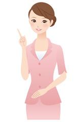 説明する女性 表情 スーツ
