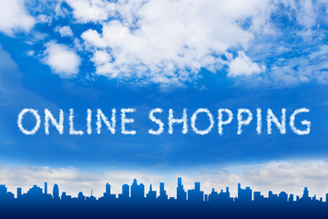 Online shopping text on cloud