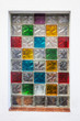 Colorful window glass blocks in white wall