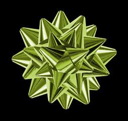 green bows shiny ribbons, isolated on black