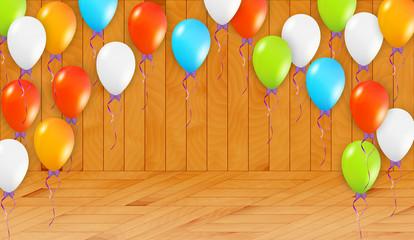 balloons in wooden room