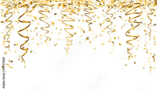 falling gold confetti poster