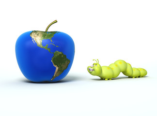 worm going to eat apple with Earth map