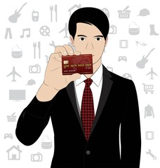 Business man hold credit card