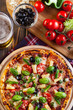 canvas print picture - Pizza hawaii with beer