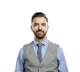Hipster businessman in studio