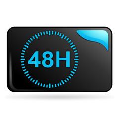 48 heures sur bouton web rectangle bleu