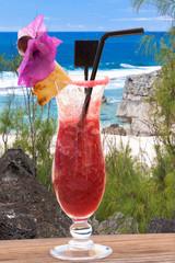 cocktail exotique sur plage de Trou d'Argent, Rodrigues