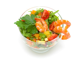 vegetable salad with shrimp on a white background