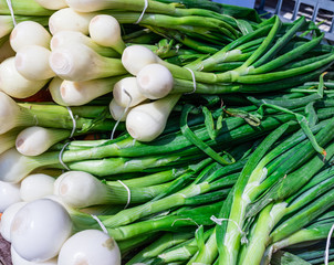 Fresh onions on market place