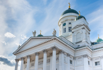 Helsinki Cathedral cloudy blue sky