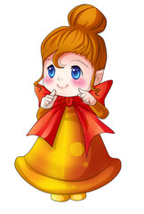 Cartoon illustration of character for Christmas, cute x-mas bell