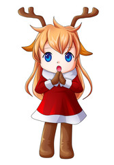 Cartoon illustration of character for Christmas, cute girl