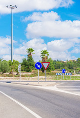 Road and roundabout on the the Balearic Islands.
