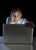 Addict man at laptop watching porn internet addiction concept poster
