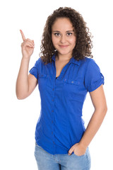 Isolated young business woman showing something with her finger.