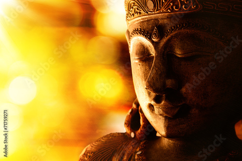 Spoed canvasdoek 2cm dik Standbeeld bronze buddha statue