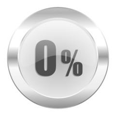0 percent chrome web icon isolated