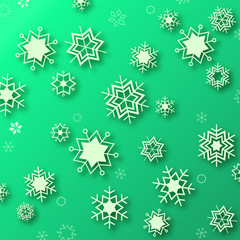 Beautiful snowflakes on green background - winter illustration