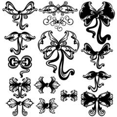 swirl bows black and white design set