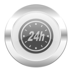 24h chrome web icon isolated