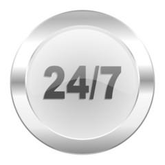 24/7 chrome web icon isolated