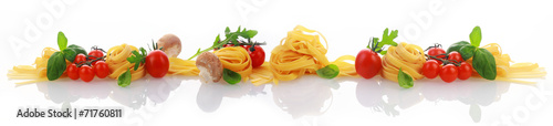 Aluminium Boord Italian ingredients for a pasta dish banner