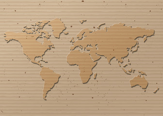 vector World map  Brown Cardboard