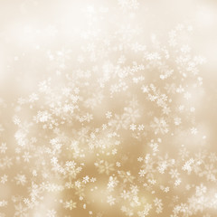 Golden abstract snowflake background