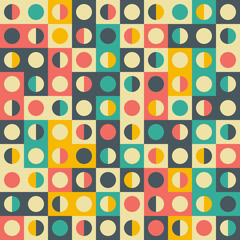 Retro seamless pattern with colorful semicircles and rectangles.