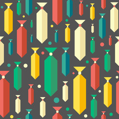 Retro seamless pattern with colorful ties and circles.