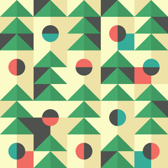 Retro seamless pattern with green triangles and semicircles.