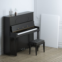 Retro black piano with empty frame in classic interior