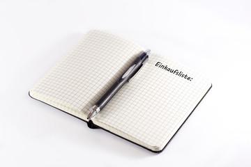 Notizbuch Einkaufsliste